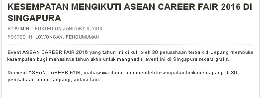 OPPORTUNITY TO PARTICIPATE IN ASEAN CAREER FAIR 2016 IN SINGAPORE