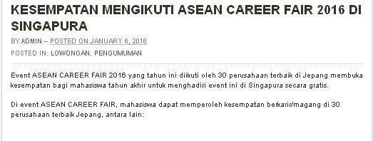 KESEMPATAN MENGIKUTI ASEAN CAREER FAIR 2016 DI SINGAPURA