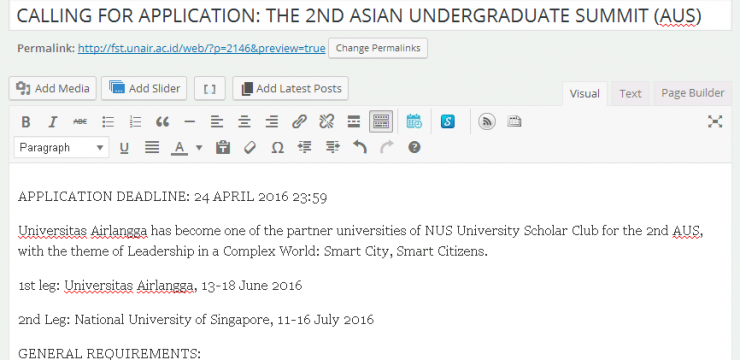 CALLING FOR APPLICATION: THE 2ND ASIAN UNDERGRADUATE SUMMIT (AUS)