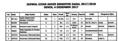 Jadwal UAS GASAL 2017 / 2018