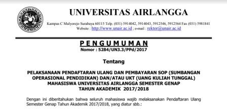Student Reregistration And Education Operational Fee (SOP) And/Or Single Tuition Fee (UKT) Payment For Even Semester 2017/ 2018 Academic Year