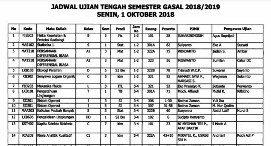 Mid-Semester Examination Timetable for Odd Semester 2018/2019