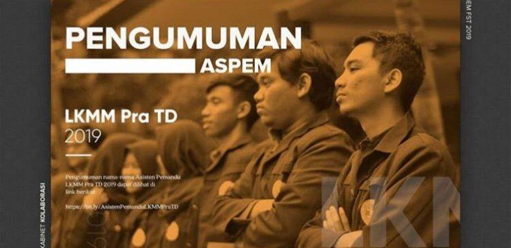 Pengumuman Asisten Pemandu LKMM Pra-TD 2019