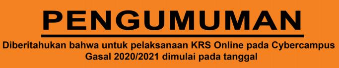 Jadwal Pelaksanaan KRS Semester Gasal 2020/2021